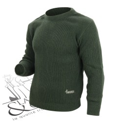 Pull camionneur col rond vert