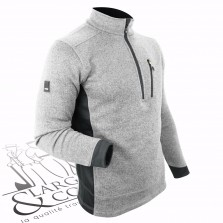 Pull en tricot polaire demi zip FHB gris