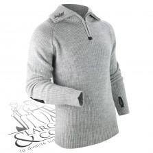 Pull en laine demi zip Snickers gris acier
