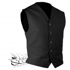 Gilet tailleur lin noir