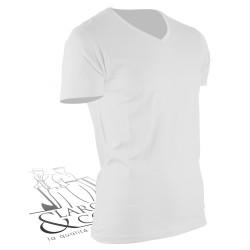T-shirt de travail col en V blanc