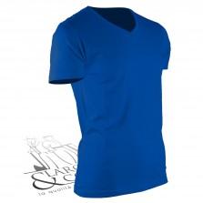 T-shirt de travail col en V bleu roi