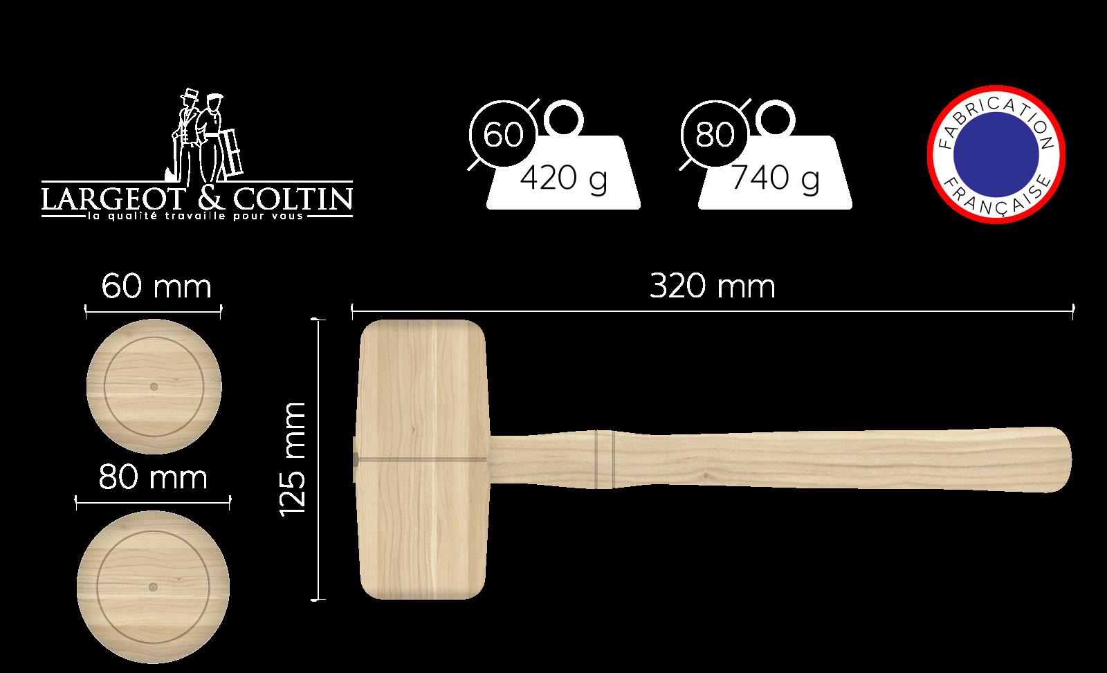 Maillet en bois forme tonneau
