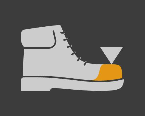 Chaussures anti-chocs, embouts en matériau plastique
